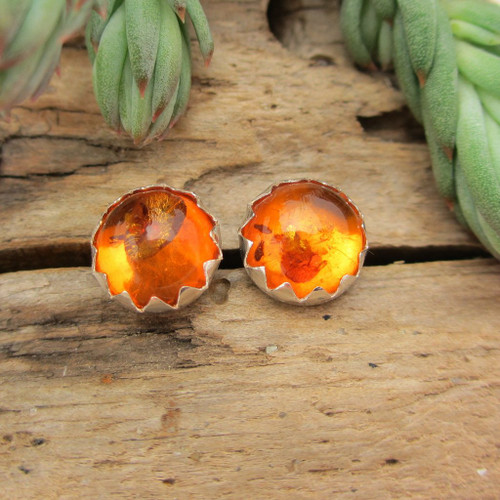 Amber cabochon stud earrings