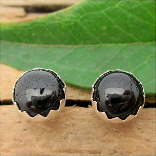 Black Tourmaline Cabochon Stud Earrings