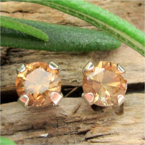 Brown Topaz Stud Earrings, Small 4mm