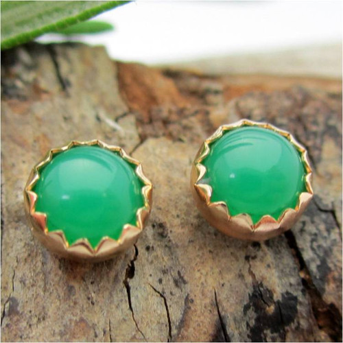 Chrysoprase Cabochon Stud Earrings, Limited Edition