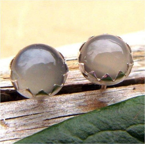 Gray Moonstone Cabochon Stud Earrings