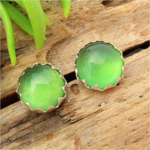 Green Chalcedony Cabochon Stud Earrings