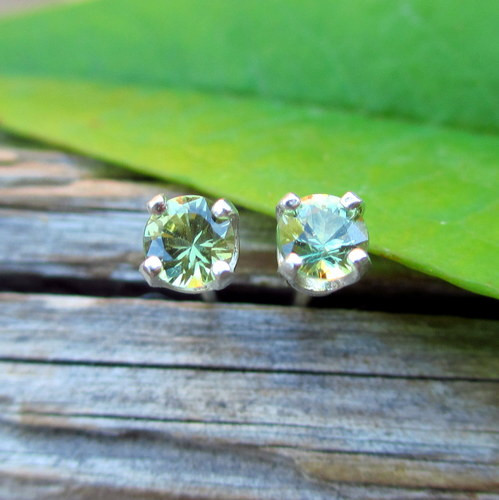 Green Sapphire Gemstone Stud Earrings