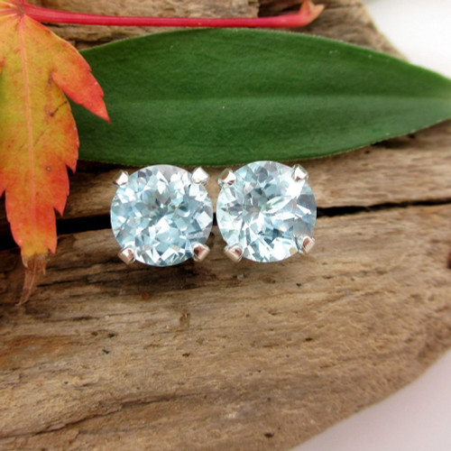 Sky Blue Topaz Stud Earrings | Natural Untreated