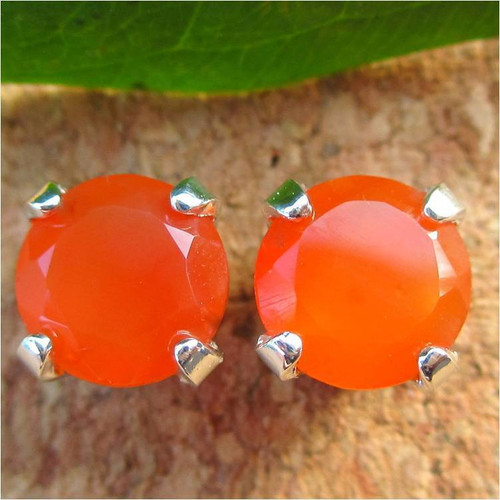 Orange Carnelian Stud Earrings