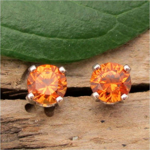 Orange Hessonite Garnet Stud Earrings