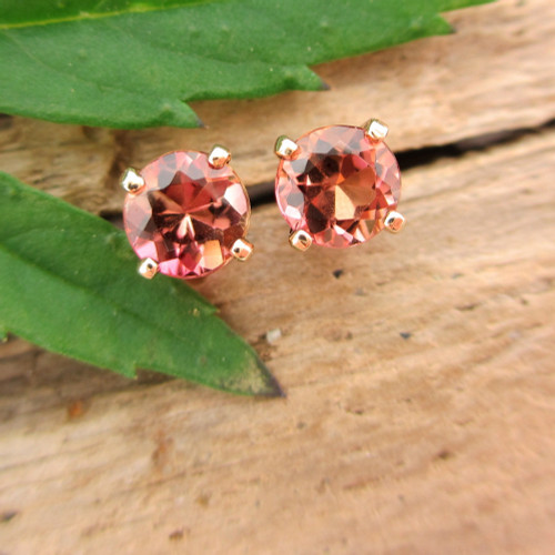 Padparadscha Peach Tourmaline Stud Earrings, Small 4mm, Limited Edition