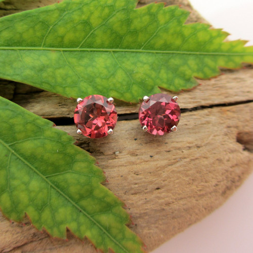 Rhodolite Garnet Stud Earrings, Limited Edition