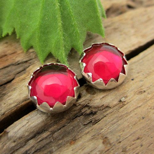 Ruby Cabochon Stud Earrings | Lab Grown