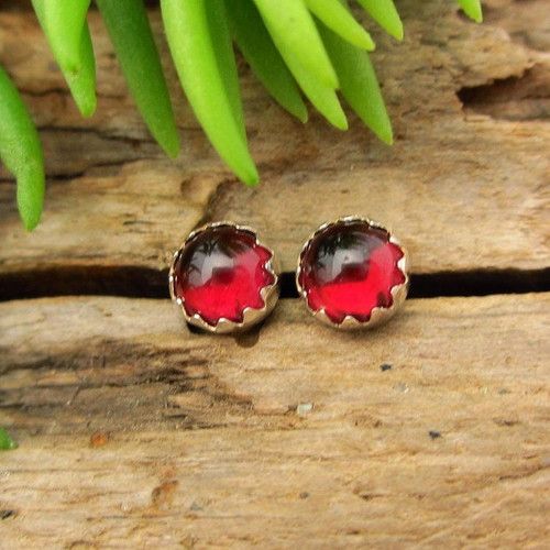 Red Garnet Cabochon Stud Earrings | Ruby Red