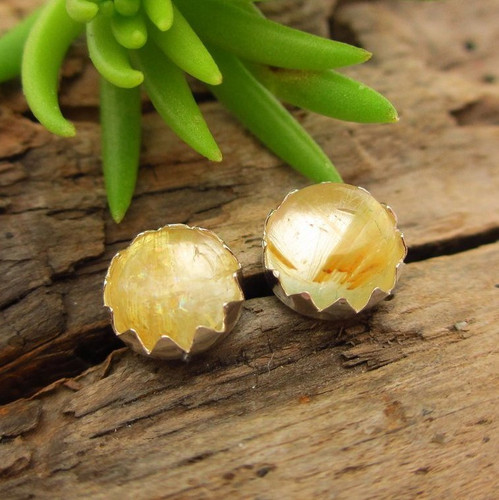 Rutilated Quartz Cabochon Stud Earrings