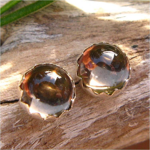 Smoky Quartz Cabochon Stud Earrings