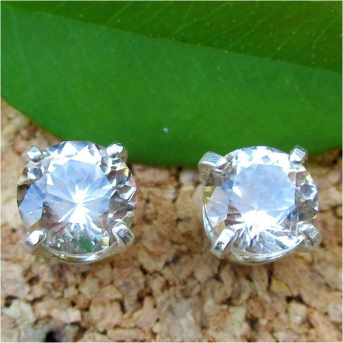 Tan Topaz Stud Earrings, Medium 5mm