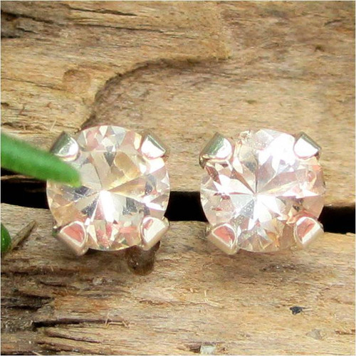 Tan Topaz Stud Earrings, Small 4mm Lot 2