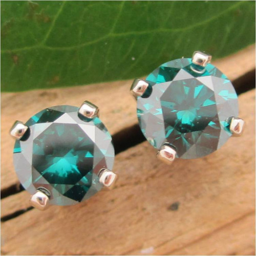 Teal Blue Diamond Stud Earrings