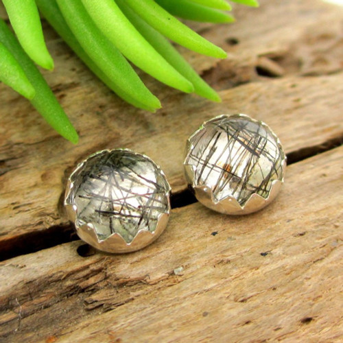 Tourmalinated Quartz Cabochon Stud Earrings