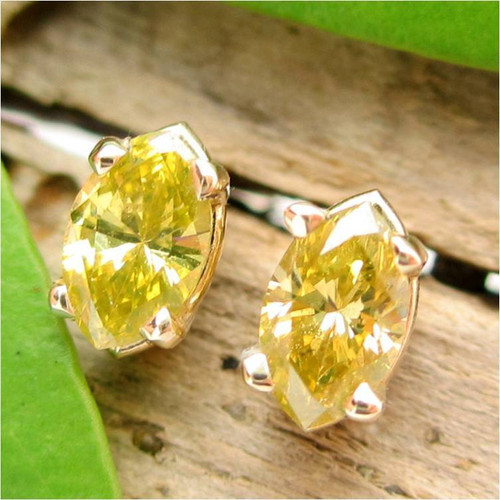 Yellow Diamond Stud Earrings, Medium 5x2.7mm, Limited Edition