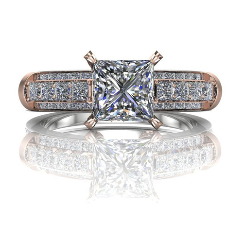 Bridgework Engagement Ring | Princess 1 Carat Diamond