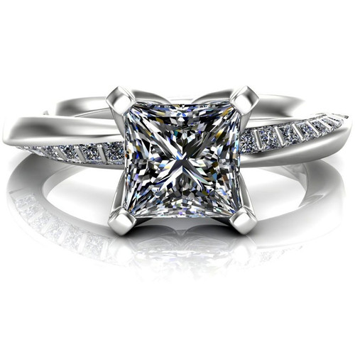 Mobius Twist & Sparkle Engagement Ring | Princess 1ct Diamond