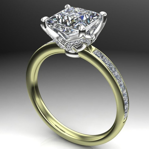 Diamond Petals Engagement Ring | Princess 2 Carat Diamond