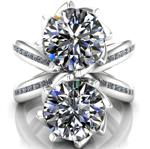 X Band Two Stone Engagement Ring | Round 2x 2ct Diamonds