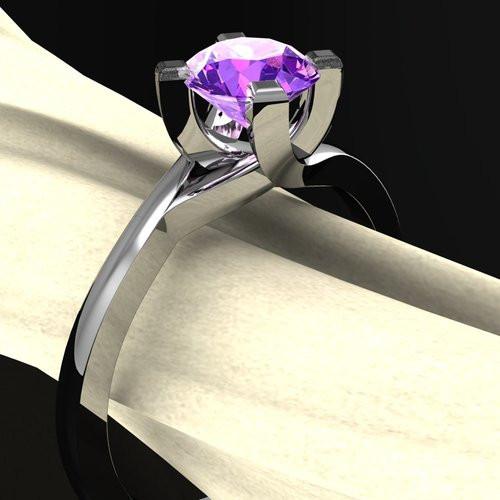 Modern Bypass Gem Twist Ring | Round 1 Carat Amethyst