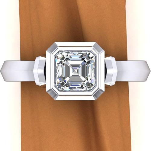 Art Deco Bezel Engagement Ring | Asscher 1 Carat Diamond
