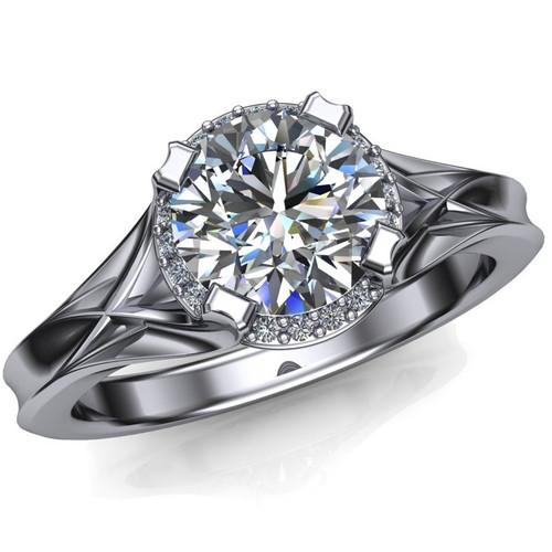 Unique Modern Halo Engagement Ring