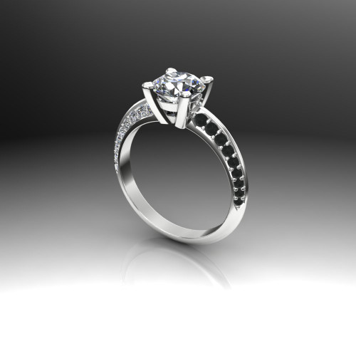 Black Channels Tuxedo Engagement Ring | Round 1.5ct Diamond
