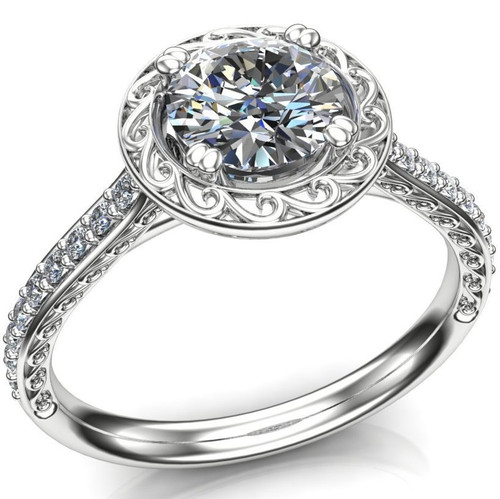 Halo Swirl Engagement Ring | Round .80 Carat Diamond