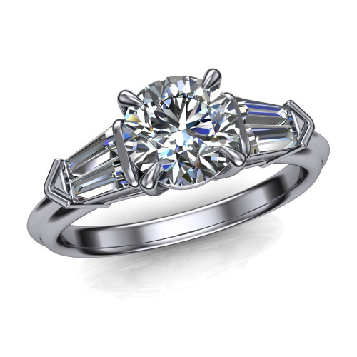 Pointed Rock Engagement Ring | Round .80 Carat Diamond