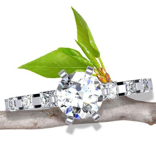 Square & Narrow Engagement Ring   Round 1/2 Carat Diamond
