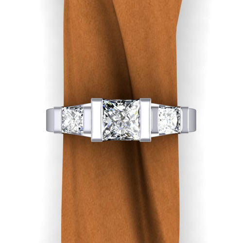 Modern 3 Stone Engagement Ring | Princess .75+ ct Diamonds