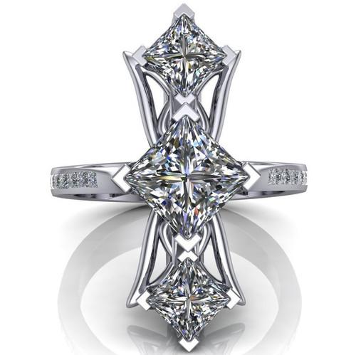 Red Carpet Royalty Art Ring | Princess Cut Diamonds