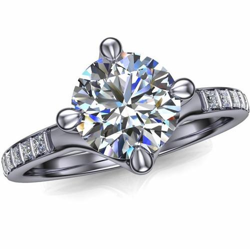 Sleek Modern Engagement Ring | Round 1ct Diamond