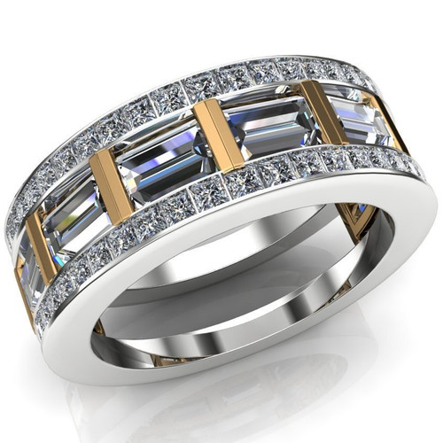 Barred Men's Engagement Ring | Baguette 2+ Carats Diamonds