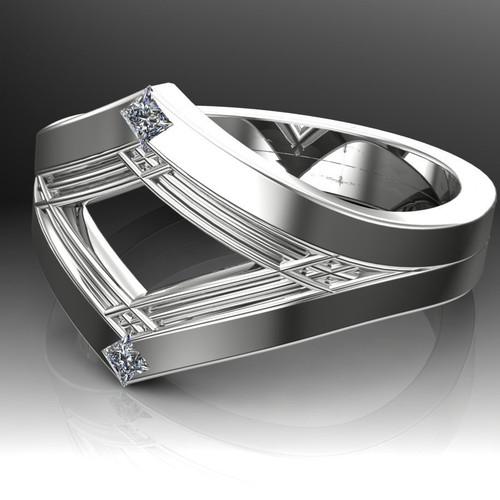Art Deco Ancient Geometry Men's Engagement Ring