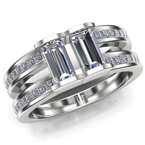 Barred Men's Engagement & Wedding Ring | 1+ Carats