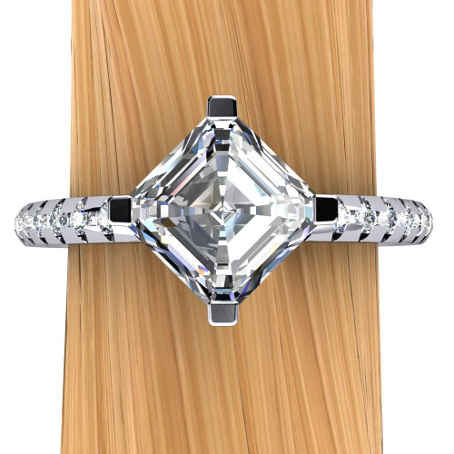 Narrow Band Engagement Ring | Asscher 1ct Diamond