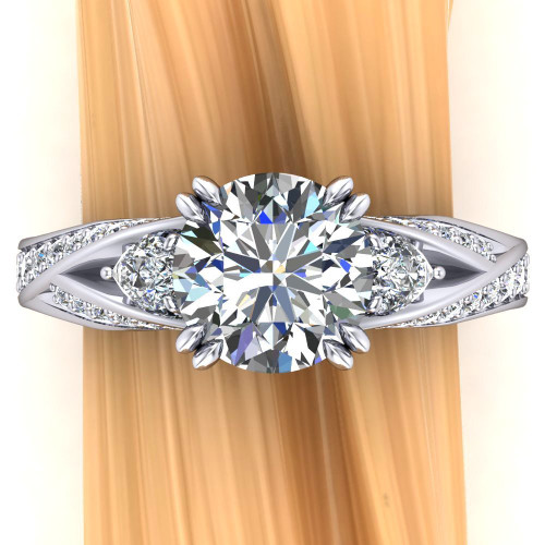 Pear Curve Accented Engagement Ring | Round 2ct Diamond