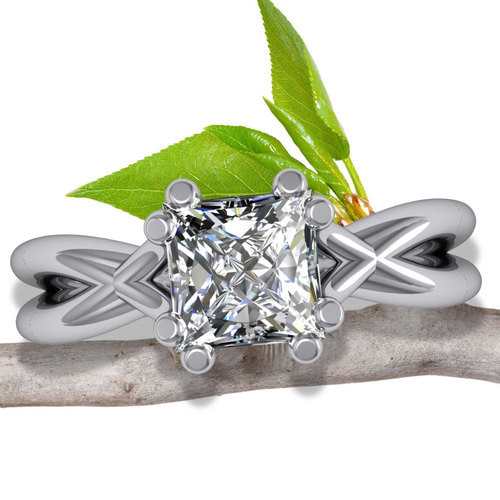 X Split Band Engagement Ring | Princess 1/2ct Diamond