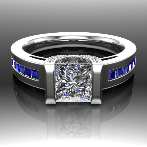 Blue Line Engagement Ring | Princess 1ct Diamond & Sapphire