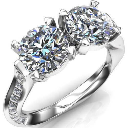 Infinity Twist 2 Stone Engagement Ring | Round 2ct Diamonds