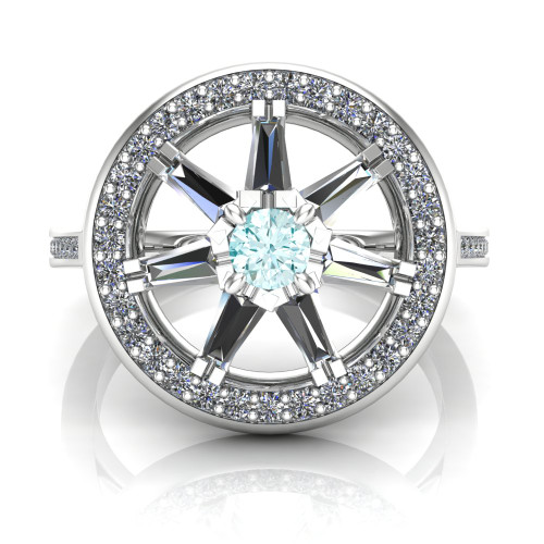 Custom Wheel of Fire Diamond Engagement Ring