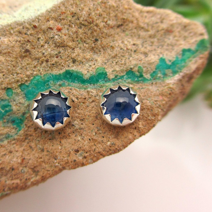 Blue Sapphire Cabochon Earrings