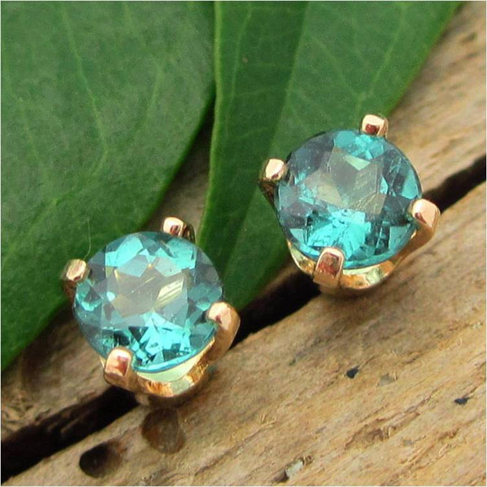 Blue Tourmaline Stud Earrings, Small 4mm, Limited Edition