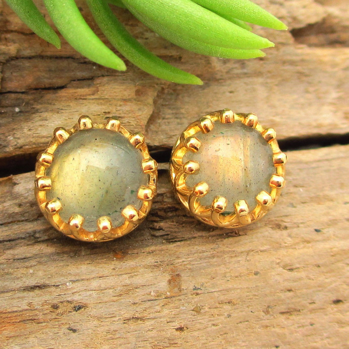 Gold Labradorite Cabochon Stud Earrings, Limited Edition