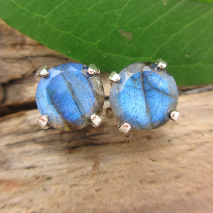Labradorite Stud Earrings   Spectrolite Type