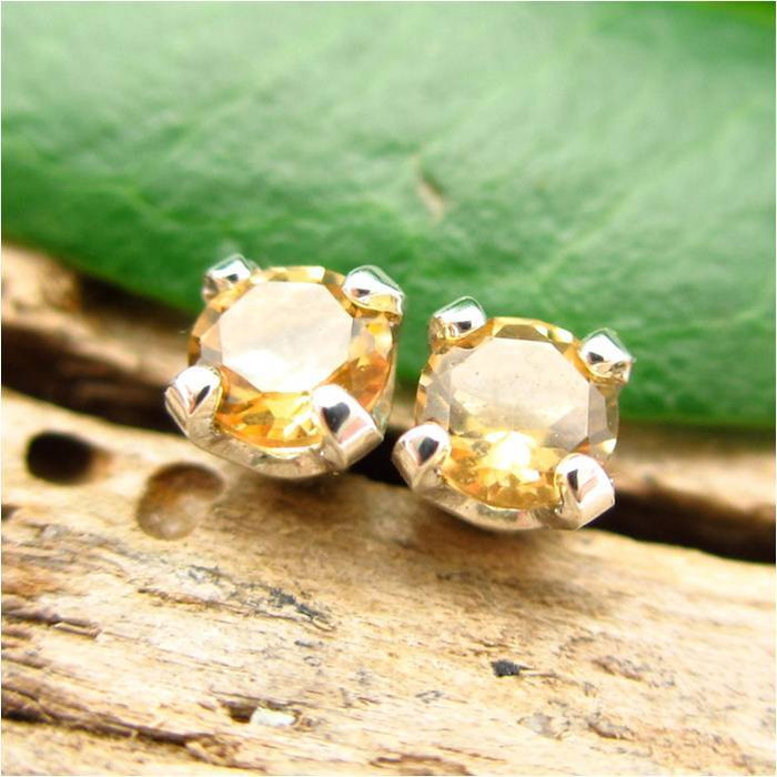 Citrine Stud Earrings | Soft Yellow