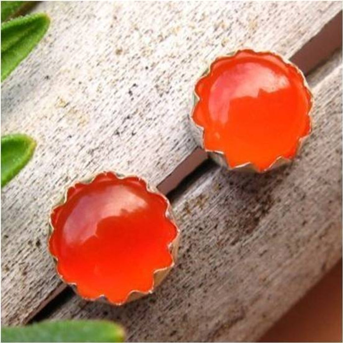 Orange Carnelian Cabochon Stud Earrings